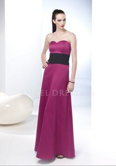 Sweetheart A line Satin Floor Length Natural Waist Sleeveless Bridesmaid Dress