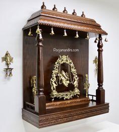 Pooja Mandirs USA - Vishaka Collection - Wall Hanging Mandirs Wooden Temple For Home, Temple Design For Home, Mandir Design, Pooja Mandir, Pooja Room Door Design, Puja Room, Room Ideas, Decor Ideas, Prayer Room