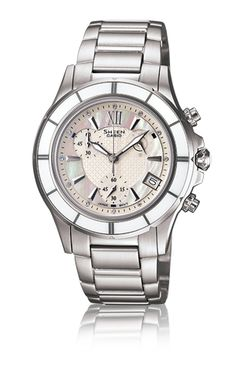 A beautifully designed chronograph with a mother of pearl watch face and elegant ceramic bezel.