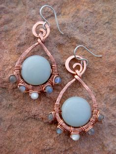 """Amazonite earrings,  """"Shimmering Sea""""  Laboradorite, Mother of Pearl,  Hammered, blue stone."""