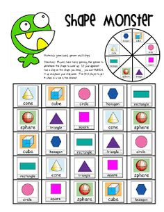 Freebie - click on Shape, Shapes, Shapes Booklet - Lory's Page: Math Work Stations Chapter 7