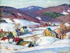 Aldro Thompson Hibbard - American (1886 - 1972), Plein Air Landscape Artist - Plein Aire in Maine (snow, village, buildings, trees, winter)