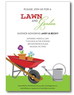 Lawn and Garden Bridal Shower Invitations … Custom, Printable Digital File … - Home And Garden Garden Bridal Showers, Garden Shower, Wedding Showers, Couples Shower Invitations, Party Invitations, Invites, Couple Shower, Lawn And Garden, Green Garden