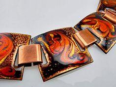Brilliant Red Enamel Copper Bracelet 50s Matisse-SOLD