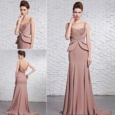 Modest long evening dress for business women hostess long beaded evening dress