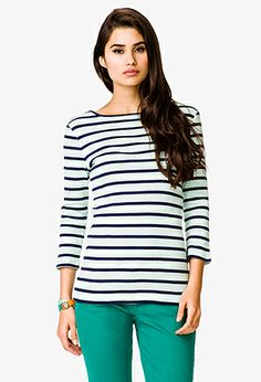 Boat Neck Striped Top | FOREVER 21 - 2023763241