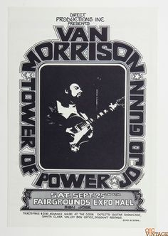 Van Morrison Tower of Power 1972 Sep 25 Fairgrounds Expo Poster Randy Tuten