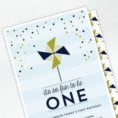 Pinwheel Fun to Be One First Birthday Boy Party Invitation - Custom Kids / Childrens Invite - DEPOSIT or digital delivery option