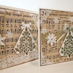Moski -Christmas carol from old songbook in back ground. Christmas tree is stamped and embossed.