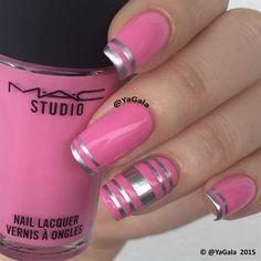 Pink Stripes Nail Art ❤