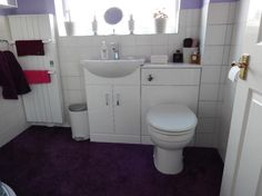 #VPShareYourStyle Philip from Walsall uses a white basin toilet combination unit to save space in his purple bathroom.