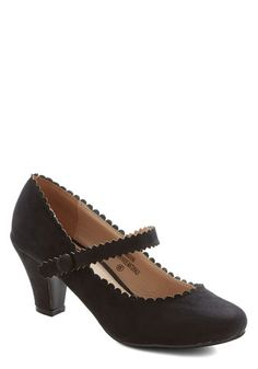 Sentimental Strides Heel in Black - Mid, Faux Leather, Black, Solid, Party, Daytime Party, Good, Mary Jane, Scallops, Variation