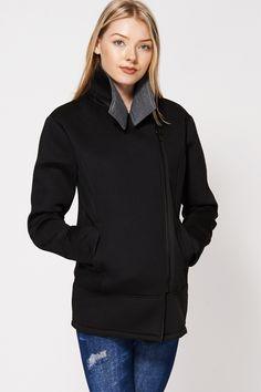 Fishnet Side Panel Asymmetrical Zip-up Jacket