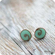 Delicate swirls - Post earrings  Mint blue by Dariami on Etsy