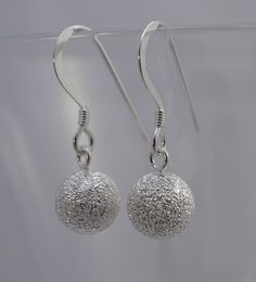 Classic 8mm Frosted Ball Dropper  Earrings