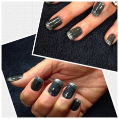 Charcoal/black with a silver shimmer on tips!  City Looks Salon and Spa, Cedar Rapids