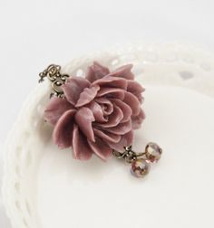 Statement Necklace Dusty Pink Rose Necklace on by JacarandaDesigns. This is so beautiful. I love it and want it!
