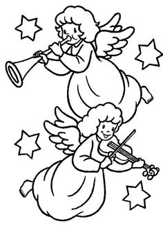 Christmas Angels Blowing Trumpet And Playing Violin Coloring Pages