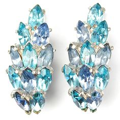 Christian Dior by Kramer Blue Topaz and Aquamarine Clip Earrings
