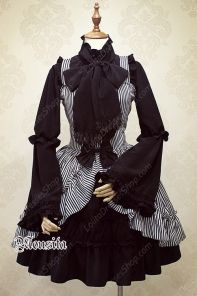 Sweet Chiffon Bow Gothic Striped Mousita Lolita Suspender Skirt Two-piece