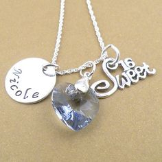 personalized handstamped 16 in Ss necklace