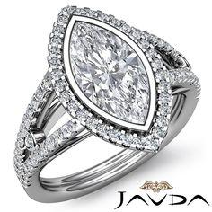 Halo Prong Set Marquise Shape Diamond Engagement Ring GIA F SI1 Platinum 1 8 Ct   eBay