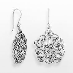 Sterling Silver Marcasite Flower Drop Earrings ($90) ❤ liked on Polyvore