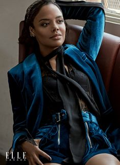 Suiting up, Tessa Thompson wears Self-Portrait blazer and lace top with Jennifer Fisher earring
