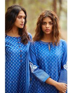 Beautiful Kurtis with brilliant detailing. Salwar Kameez Neck Designs, Churidar Designs, Kurta Neck Design, Kurta Designs Women, Kurti Embroidery Design, Embroidery Suits, Dress Neck Designs, Blouse Designs, High Collar Blouse