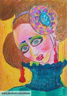 <새침한여인, Prim lady, oil pastel, 2009>