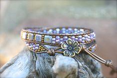 Czech Glass Tile, Lavender Beaded Double Wrap,Leather Bracelet,Square Bracelet, Double Wrap Bracelet, Boho Wrap Bracelet, 2x Wrap Bracelet