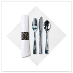 15 1/2 x 15 1/2 White   Prerolled Dinner Napkin and Heavyweight Metallic Cutlery Bagged/Case of 100