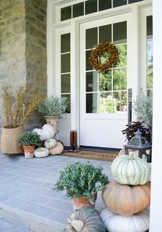 An Easy, Elegant and Inspiring Fall Front Porch - Romantic Homes Front Porch Steps, Front Door, Front Porch Decorating, Fall Decor, Porch Pumpkins, Trees For Front Yard, Fall Decorations Porch, Fall Front Porch Decor, Romantic Homes