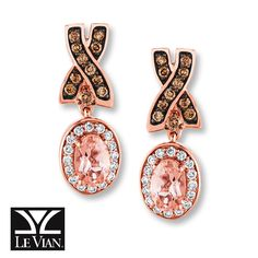 LeVian Chocolatier® Peach  Morganite™ Earrings 3/8 cttw Diamonds 14K Strawberry Gold®