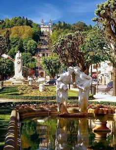 Lamego, #Portugal www.enjoyportugal.eu Douro Portugal, Visit Portugal, Spain And Portugal, Portugal Travel, Cool Places To Visit, Places To Travel, Fc Porto, Europe, Statues