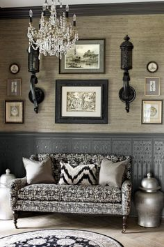 The paneling in my dining room done in grey.     Avon estate in NY, Anthony Como of Luxe Interiors.