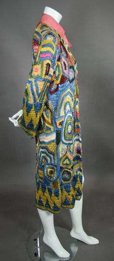 1920s Multi Colored Austrian Crochet Coat | From a collection of rare vintage coats and outerwear at https://www.1stdibs.com/fashion/clothing/coats-outerwear/
