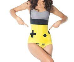 Women Tankinis Sexy Bodysuit Gamer Yellow Swimsuit Digital Printing Bikini SET
