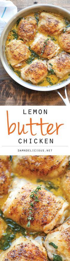 Chicken Recipes - Lemon Butter Chicken - Easy Crisp-Tender Chicken in Creamy Lemon Butter Sauce Recipe via Damn Delicious