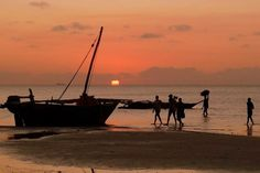 Kanga Village Fisherman at sunset Mafia, Scenery, Weather, Celestial, Island, Sunset, Landscape, People, Outdoor