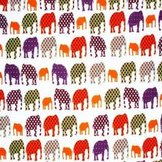 Child Fabric – Elephant Off White