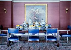 Purple grasscloth walls with blue & white ginger jars, love!