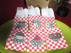 Picnic Themed Cutlery Holders Set of 12 by zbrown5 on Etsy