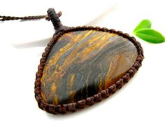 Tiger's Eye Necklace, Tigers eye pendant, mans necklace, Healing stones , Mens jewelry, Unisex , Solitary stone, Tigers eye gemstone pendant