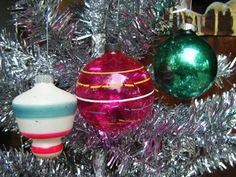 Vintage 1940's Christmas Tree Ornaments, Mercury Glass