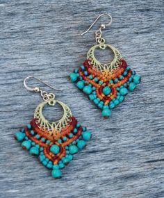 bollywood earrings bellydance earrings tribal by yasminsjewelry Macrame Earrings, Macrame Jewelry, Fabric Jewelry, Clay Jewelry, Beaded Earrings, Crochet Earrings, Indian Earrings, Tribal Earrings, Turquoise Earrings