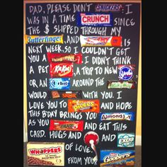 New birthday ideas for dad from kids candy 16 Ideas Daddy Gifts, Gifts For Dad, Man Gifts, Daddy Birthday, 40th Birthday, Birthday Signs, Birthday Parties, Fathers Day Poster, Candy Board