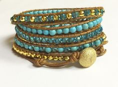 Handmade Leather Wrap Blue and Gold Crystal Beads on Brown Genuine Leather 5 Wrap Bracelet Handmade Jewelry  by BohemianWrapsody, $60.00 USD