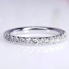 """Jazz"" French Pave Thin Diamond Eternity Band in 18K White Gold #DiamondEternityRings"