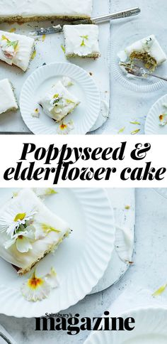 Try our elderflower and poppyseed traybake for a teatime treat Delicious Desserts, Yummy Food, Drizzle Cake, Gbbo, Vegetarian Cake, Elderflower, Recipes From Heaven, Cake Servings, Food Heaven
